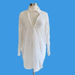 CP Shades White Ecru Cotton Silk Tunic w Pockets L